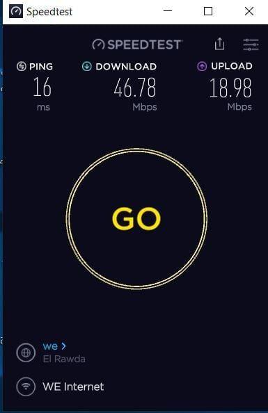 نتائج قياس سرعة الانترنت على برنامج سبيد تست للكمبيوتر